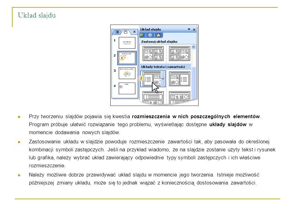Układ slajdu Przy tworzeniu slajdów pojawia się kwestia rozmieszczenia w nich poszczególnych elementów. Program próbuje ułatwić rozwiązanie tego probl