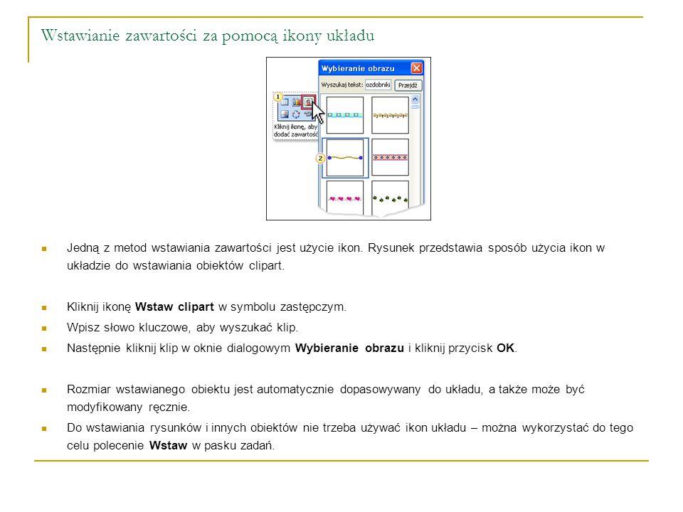 Wstawianie zawartości za pomocą ikony układu Jedną z metod wstawiania zawartości jest użycie ikon. Rysunek przedstawia sposób użycia ikon w układzie d