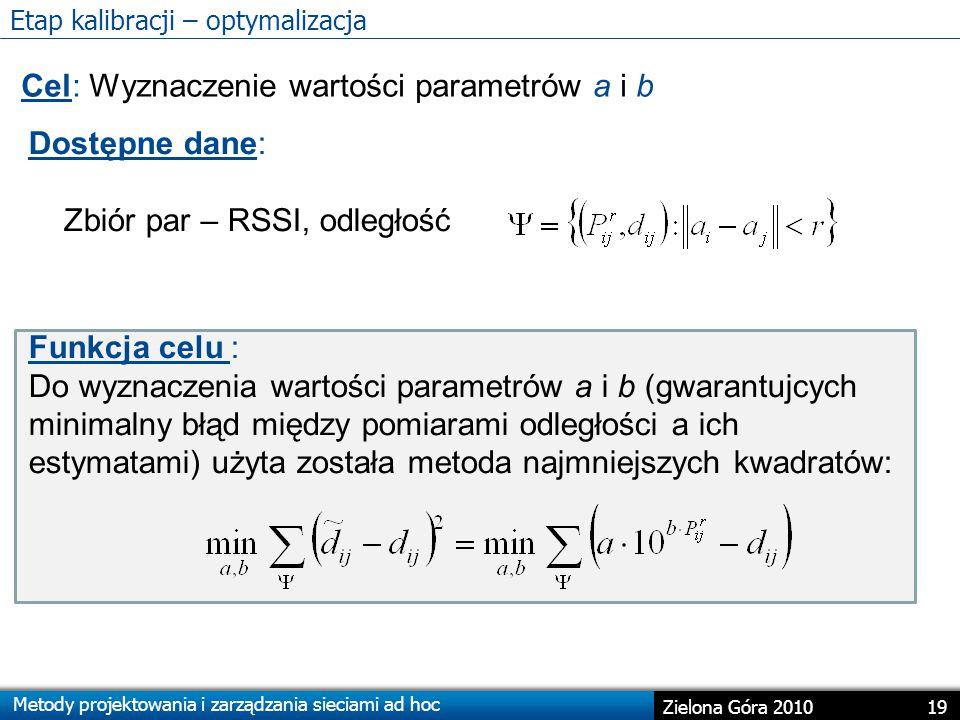 Metody projektowania i zarządzania sieciami ad hoc 19 Zielona Góra 2010 Etap kalibracji – optymalizacja Cel: Wyznaczenie wartości parametrów a i b Dostępne dane: Zbiór par – RSSI, odległość Funkcja celu : Do wyznaczenia wartości parametrów a i b (gwarantujcych minimalny błąd między pomiarami odległości a ich estymatami) użyta została metoda najmniejszych kwadratów: