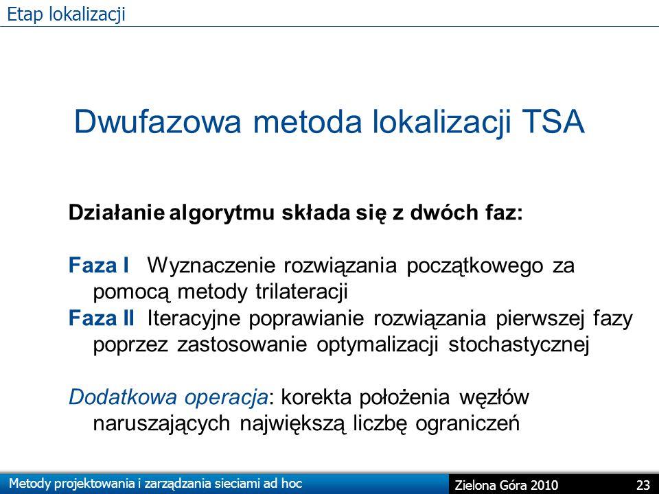 Metody projektowania i zarządzania sieciami ad hoc 23 Zielona Góra 2010 Etap lokalizacji Dwufazowa metoda lokalizacji TSA Działanie algorytmu składa się z dwóch faz: Faza I Wyznaczenie rozwiązania początkowego za pomocą metody trilateracji Faza II Iteracyjne poprawianie rozwiązania pierwszej fazy poprzez zastosowanie optymalizacji stochastycznej Dodatkowa operacja: korekta położenia węzłów naruszających największą liczbę ograniczeń