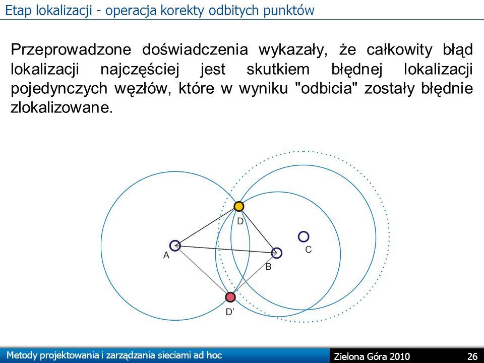 Metody projektowania i zarządzania sieciami ad hoc 26 Zielona Góra 2010 Etap lokalizacji - operacja korekty odbitych punktów Przeprowadzone doświadczenia wykazały, że całkowity błąd lokalizacji najczęściej jest skutkiem błędnej lokalizacji pojedynczych węzłów, które w wyniku odbicia zostały błędnie zlokalizowane.