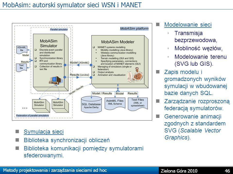 Metody projektowania i zarządzania sieciami ad hoc 46 Zielona Góra 2010 MobAsim: autorski symulator sieci WSN i MANET Modelowanie sieci Transmisja bezprzewodowa, Mobliność węzłów, Modelowanie terenu (SVG lub GIS).