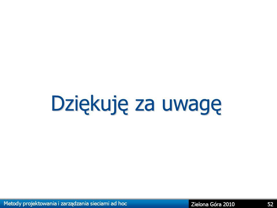 Metody projektowania i zarządzania sieciami ad hoc 52 Zielona Góra 2010 Dziękuję za uwagę