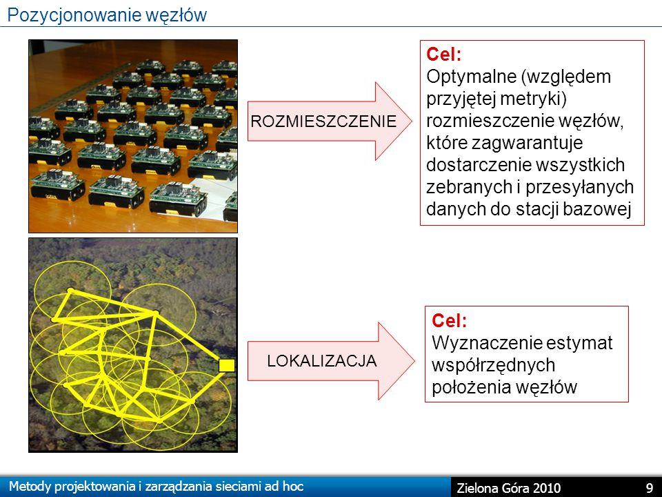 Metody projektowania i zarządzania sieciami ad hoc 9 Zielona Góra 2010 Pozycjonowanie węzłów Cel: Optymalne (względem przyjętej metryki) rozmieszczenie węzłów, które zagwarantuje dostarczenie wszystkich zebranych i przesyłanych danych do stacji bazowej ROZMIESZCZENIE Cel: Wyznaczenie estymat współrzędnych położenia węzłów LOKALIZACJA