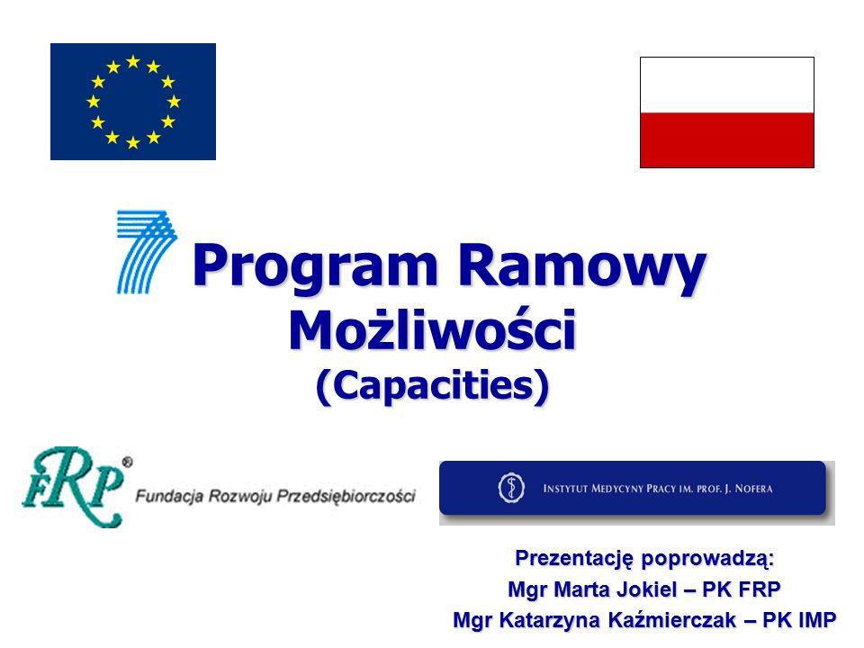 Możliwości (Capacities) Jeden z czterech programów, odpowiadających nadrzędnym celom europejskiej polityki badań.