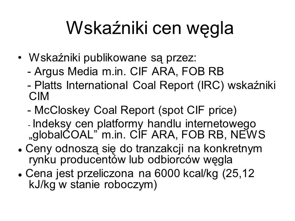 Wskaźniki cen węgla Wskaźniki publikowane są przez: - Argus Media m.in. CIF ARA, FOB RB - Platts International Coal Report (IRC) wskaźniki CIM - McClo