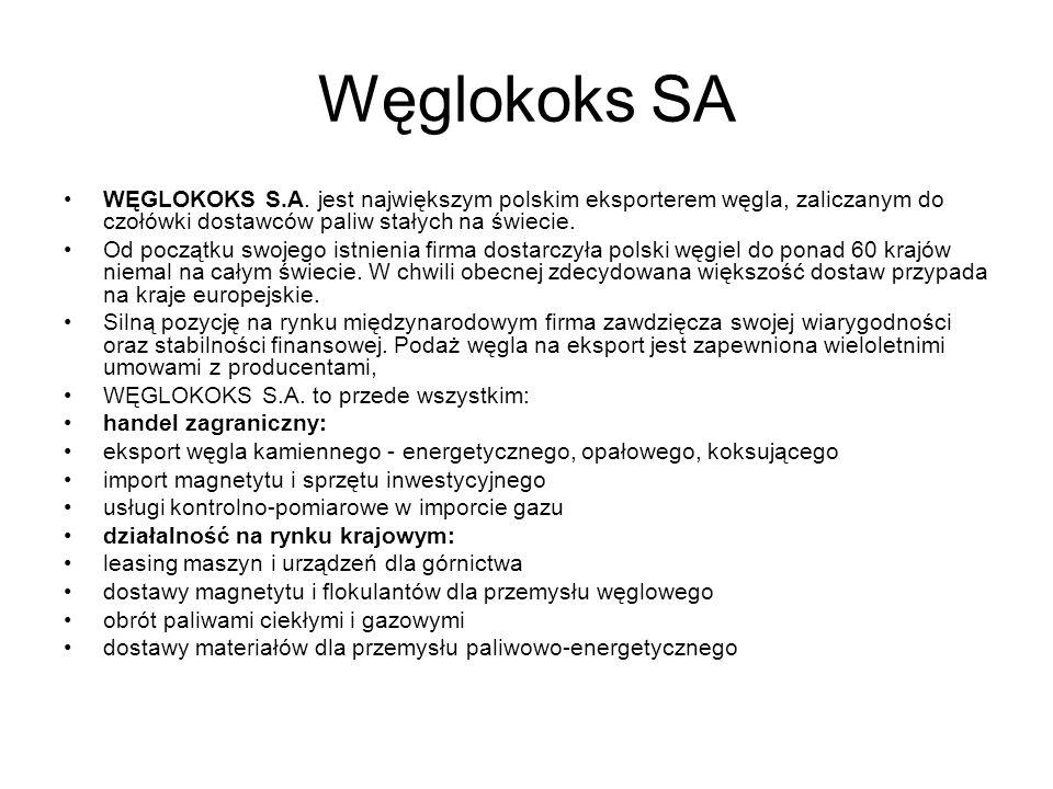 Węglokoks SA WĘGLOKOKS S.A. jest największym polskim eksporterem węgla, zaliczanym do czołówki dostawców paliw stałych na świecie. Od początku swojego