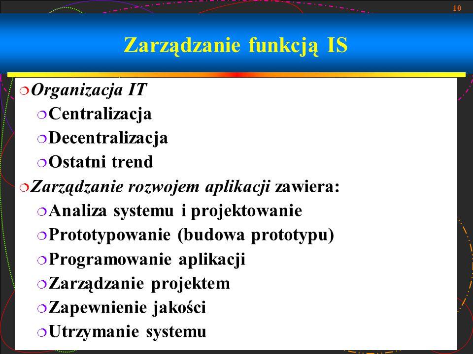 10 Zarządzanie funkcją IS  Organizacja IT  Centralizacja  Decentralizacja  Ostatni trend  Zarządzanie rozwojem aplikacji zawiera:  Analiza systemu i projektowanie  Prototypowanie (budowa prototypu)  Programowanie aplikacji  Zarządzanie projektem  Zapewnienie jakości  Utrzymanie systemu