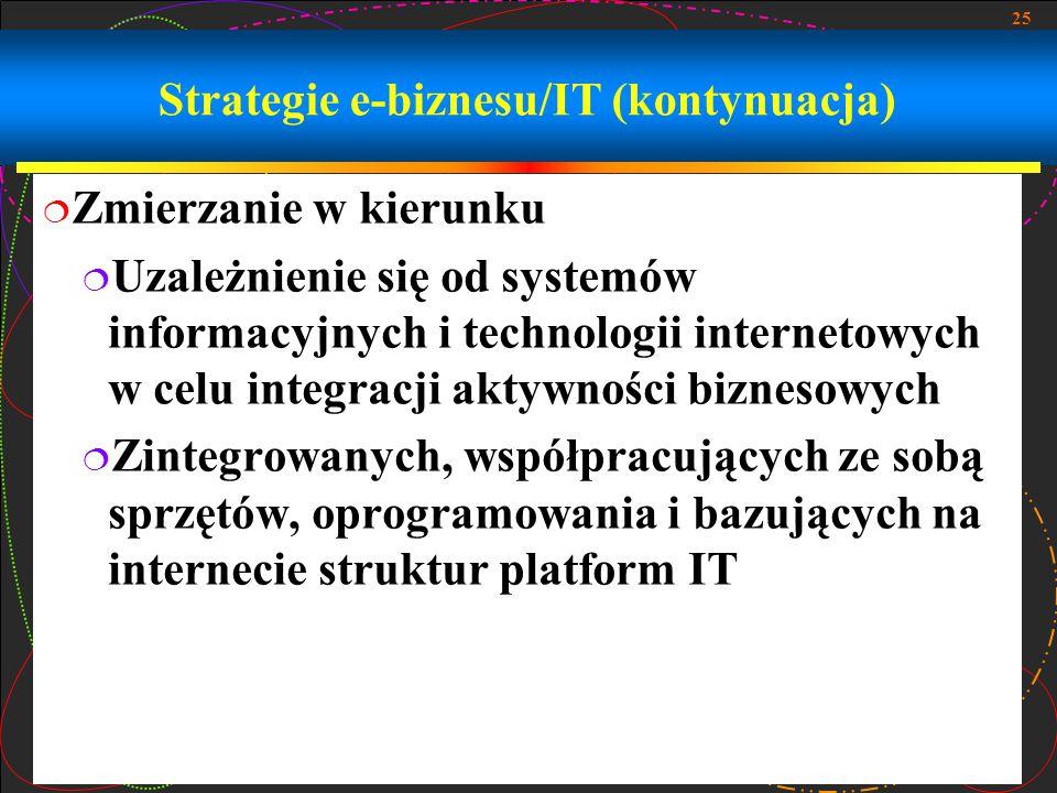 25 Strategie e-biznesu/IT (kontynuacja)  Zmierzanie w kierunku  Uzależnienie się od systemów informacyjnych i technologii internetowych w celu integracji aktywności biznesowych  Zintegrowanych, współpracujących ze sobą sprzętów, oprogramowania i bazujących na internecie struktur platform IT