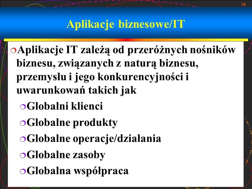 26 Aplikacje biznesowe/IT  Aplikacje IT zależą od przeróżnych nośników biznesu, związanych z naturą biznesu, przemysłu i jego konkurencyjności i uwarunkowań takich jak  Globalni klienci  Globalne produkty  Globalne operacje/działania  Globalne zasoby  Globalna współpraca