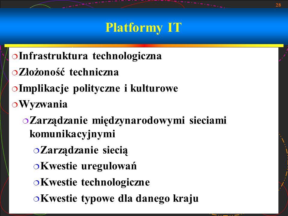 28 Platformy IT  Infrastruktura technologiczna  Złożoność techniczna  Implikacje polityczne i kulturowe  Wyzwania  Zarządzanie międzynarodowymi sieciami komunikacyjnymi  Zarządzanie siecią  Kwestie uregulowań  Kwestie technologiczne  Kwestie typowe dla danego kraju
