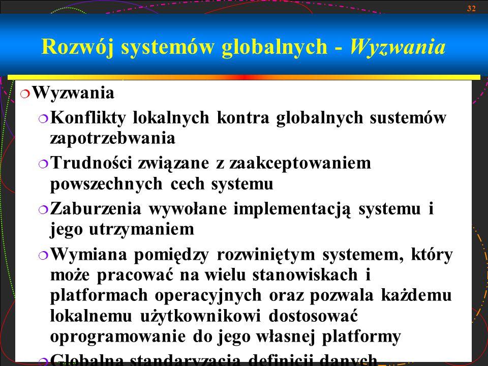 32 Rozwój systemów globalnych - Wyzwania  Wyzwania  Konflikty lokalnych kontra globalnych sustemów zapotrzebwania  Trudności związane z zaakceptowaniem powszechnych cech systemu  Zaburzenia wywołane implementacją systemu i jego utrzymaniem  Wymiana pomiędzy rozwiniętym systemem, który może pracować na wielu stanowiskach i platformach operacyjnych oraz pozwala każdemu lokalnemu użytkownikowi dostosować oprogramowanie do jego własnej platformy  Globalna standaryzacja definicji danych