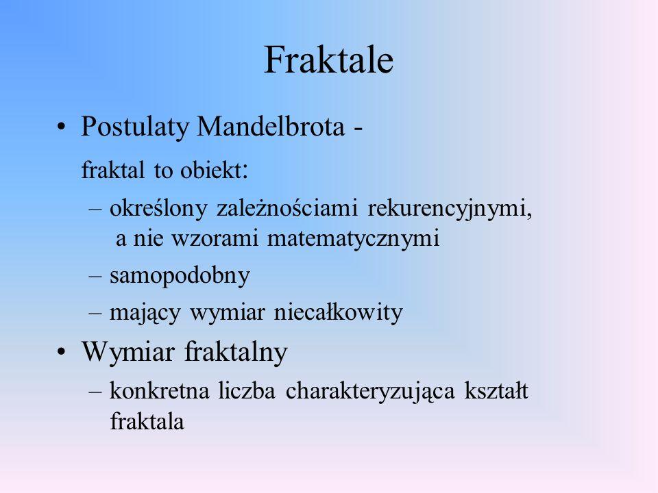 Fraktale Postulaty Mandelbrota - fraktal to obiekt : –określony zależnościami rekurencyjnymi, a nie wzorami matematycznymi –samopodobny –mający wymiar niecałkowity Wymiar fraktalny –konkretna liczba charakteryzująca kształt fraktala