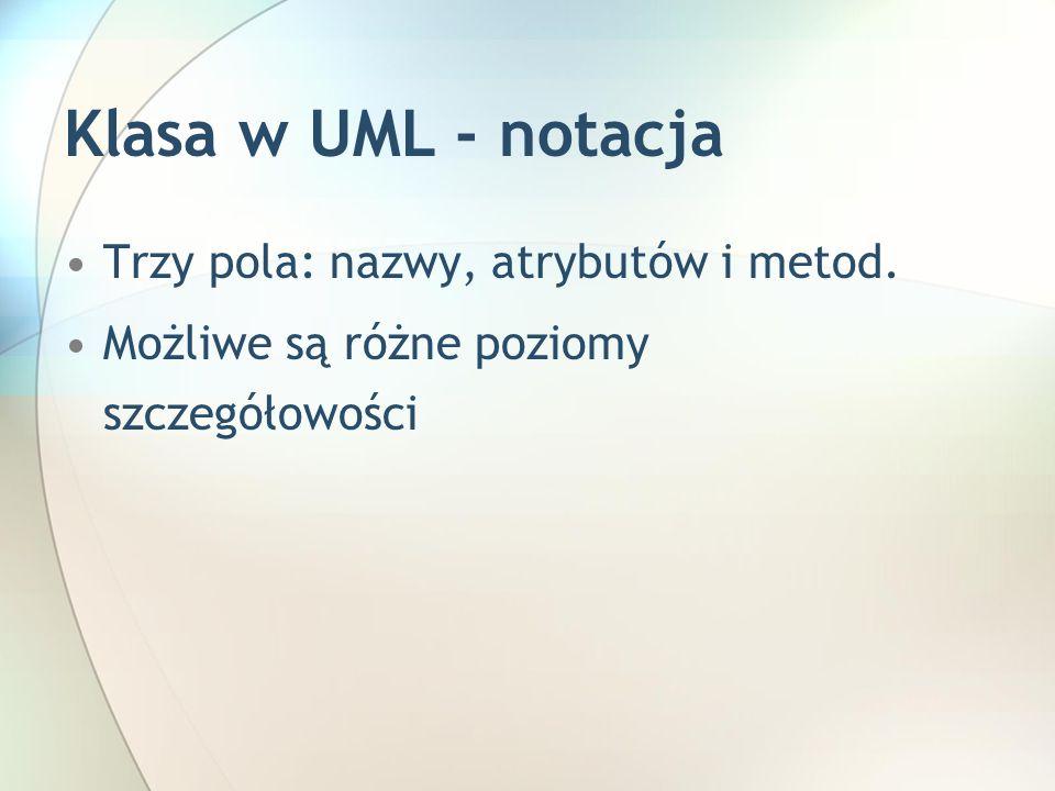 Klasa w UML - notacja Trzy pola: nazwy, atrybutów i metod. Możliwe są różne poziomy szczegółowości