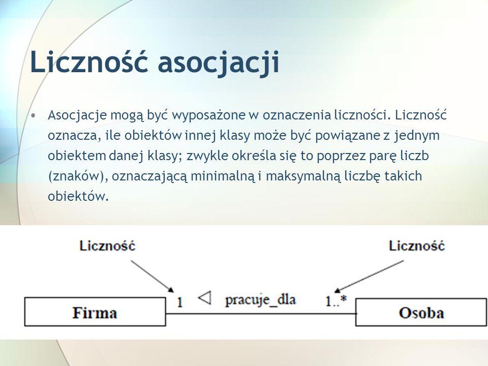 Liczność asocjacji Asocjacje mogą być wyposażone w oznaczenia liczności.