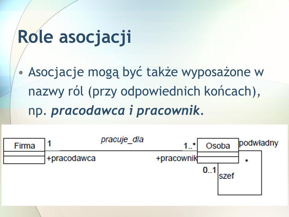 Role asocjacji Asocjacje mogą być także wyposażone w nazwy ról (przy odpowiednich końcach), np.