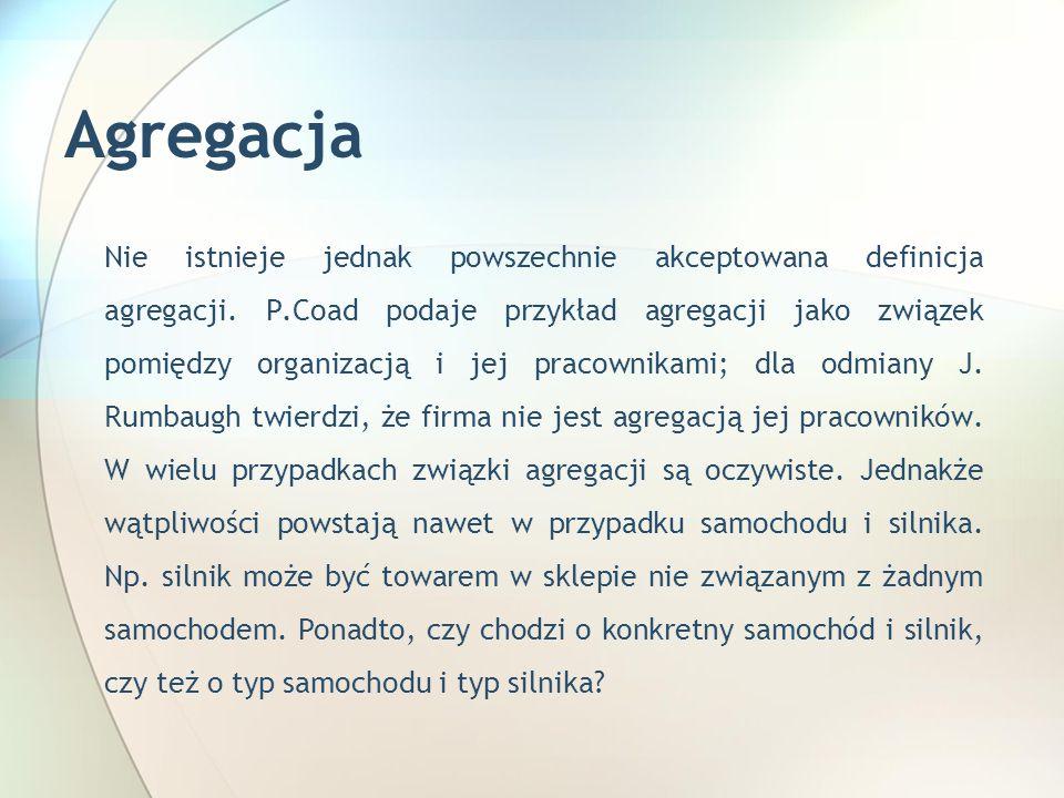 Agregacja Nie istnieje jednak powszechnie akceptowana definicja agregacji.