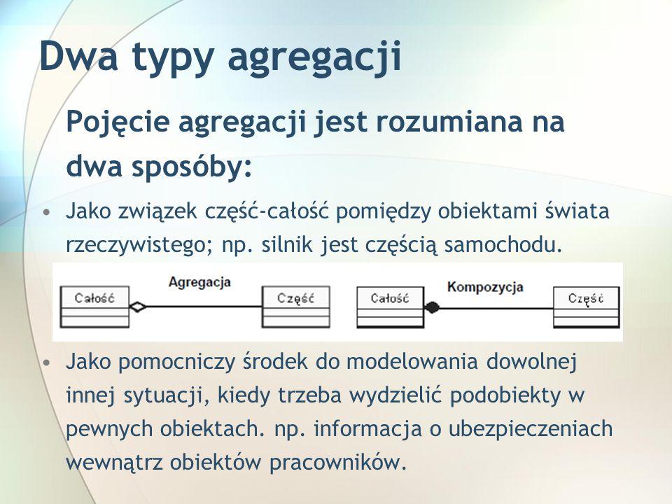 Dwa typy agregacji Pojęcie agregacji jest rozumiana na dwa sposóby: Jako związek część-całość pomiędzy obiektami świata rzeczywistego; np.
