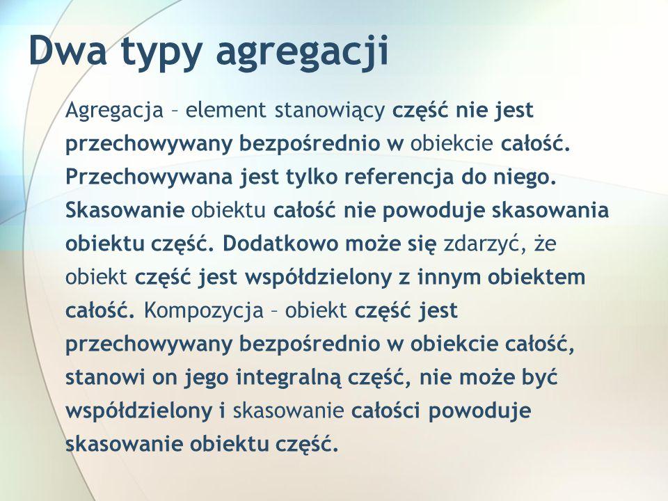 Dwa typy agregacji Agregacja – element stanowiący część nie jest przechowywany bezpośrednio w obiekcie całość.