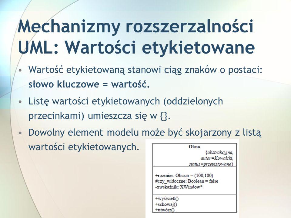 Mechanizmy rozszerzalności UML: Wartości etykietowane Wartość etykietowaną stanowi ciąg znaków o postaci: słowo kluczowe = wartość.