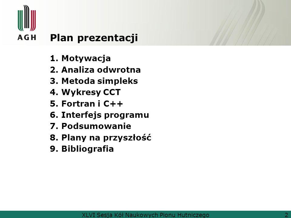 Plan prezentacji 1. Motywacja 2. Analiza odwrotna 3. Metoda simpleks 4. Wykresy CCT 5. Fortran i C++ 6. Interfejs programu 7. Podsumowanie 8. Plany na