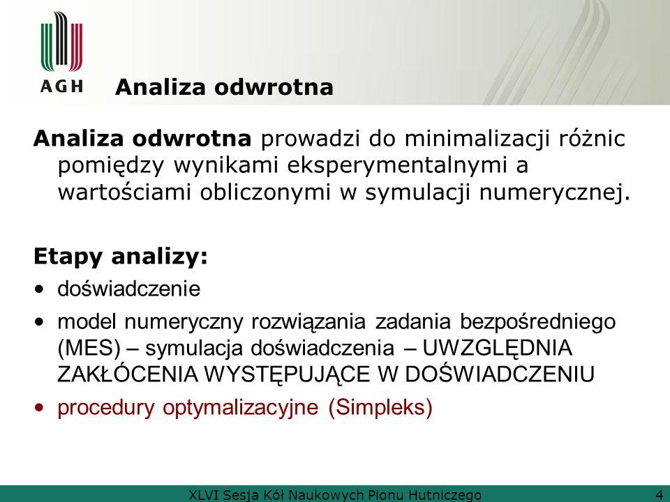 Analiza odwrotna Analiza odwrotna prowadzi do minimalizacji różnic pomiędzy wynikami eksperymentalnymi a wartościami obliczonymi w symulacji numeryczn