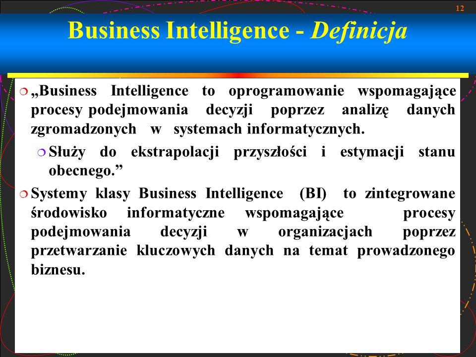"""12 Business Intelligence - Definicja  """"Business Intelligence to oprogramowanie wspomagające procesy podejmowania decyzji poprzez analizę danych zgromadzonych w systemach informatycznych."""