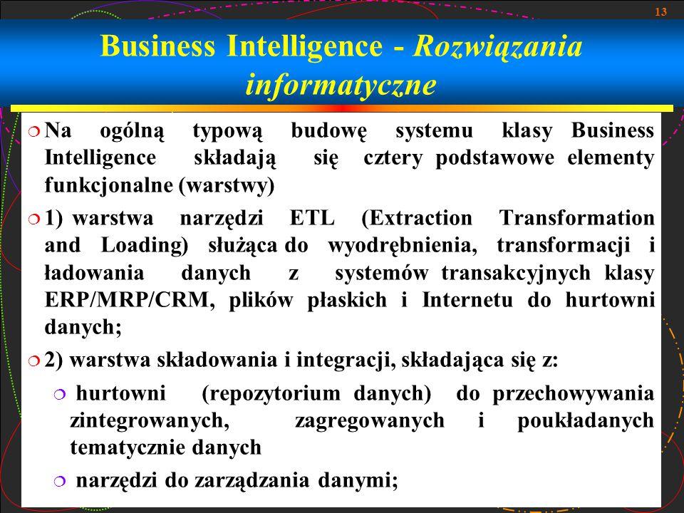 13 Business Intelligence - Rozwiązania informatyczne  Na ogólną typową budowę systemu klasy Business Intelligence składają się cztery podstawowe elementy funkcjonalne (warstwy)  1) warstwa narzędzi ETL (Extraction Transformation and Loading) służąca do wyodrębnienia, transformacji i ładowania danych z systemów transakcyjnych klasy ERP/MRP/CRM, plików płaskich i Internetu do hurtowni danych;  2) warstwa składowania i integracji, składająca się z:  hurtowni (repozytorium danych) do przechowywania zintegrowanych, zagregowanych i poukładanych tematycznie danych  narzędzi do zarządzania danymi;