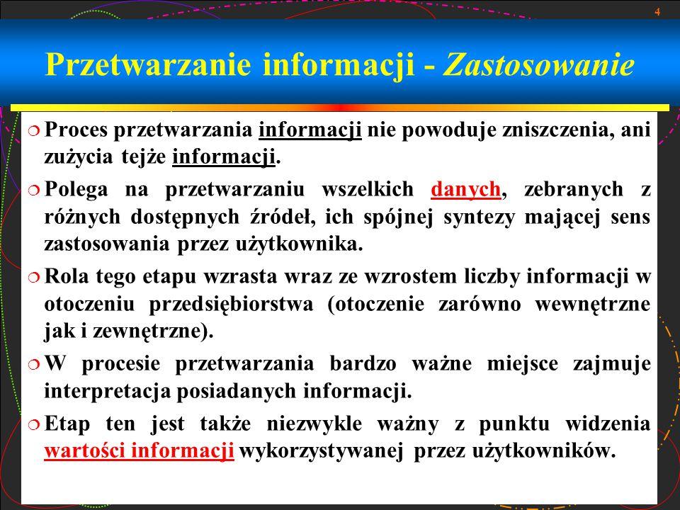 4 Przetwarzanie informacji - Zastosowanie  Proces przetwarzania informacji nie powoduje zniszczenia, ani zużycia tejże informacji.