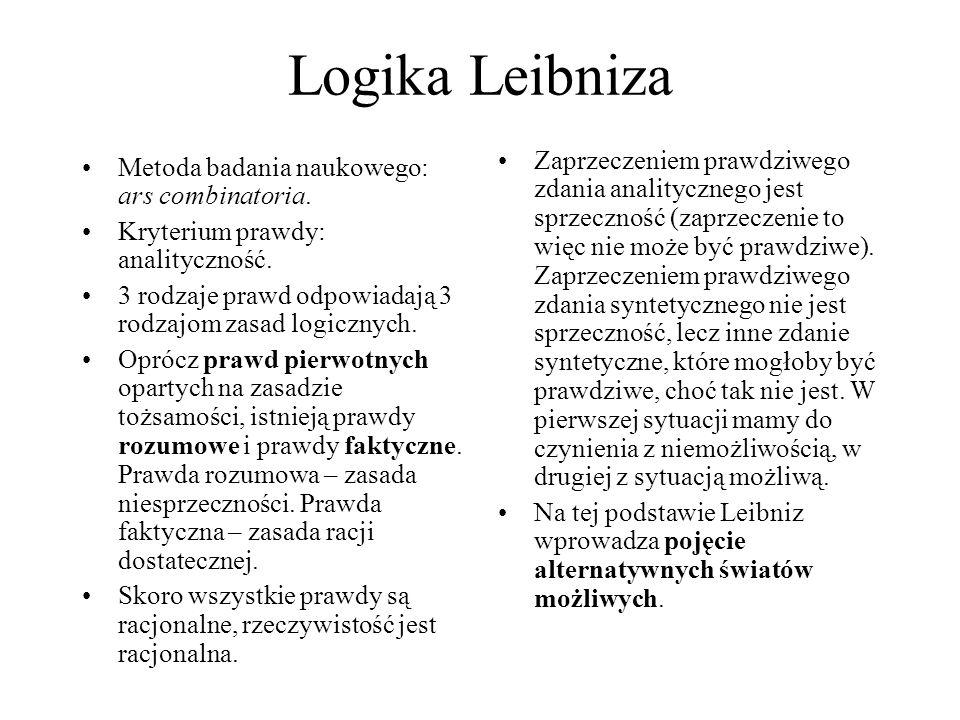 Logika Leibniza Metoda badania naukowego: ars combinatoria. Kryterium prawdy: analityczność. 3 rodzaje prawd odpowiadają 3 rodzajom zasad logicznych.