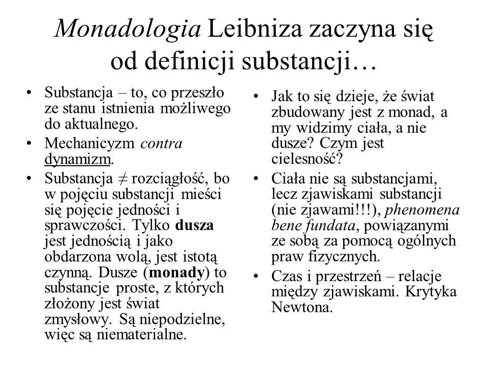 Monadologia Leibniza zaczyna się od definicji substancji… Substancja – to, co przeszło ze stanu istnienia możliwego do aktualnego. Mechanicyzm contra