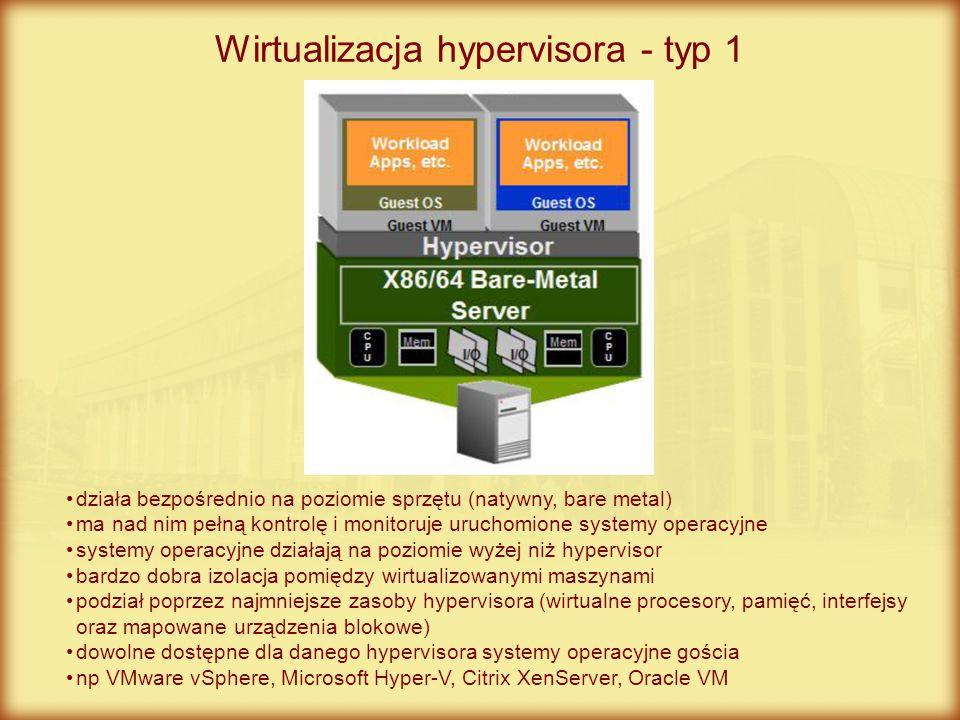 Wirtualizacja hypervisora - typ 1 działa bezpośrednio na poziomie sprzętu (natywny, bare metal) ma nad nim pełną kontrolę i monitoruje uruchomione sys