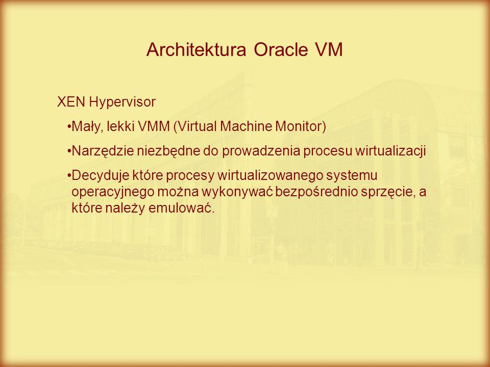 XEN Hypervisor Mały, lekki VMM (Virtual Machine Monitor) Narzędzie niezbędne do prowadzenia procesu wirtualizacji Decyduje które procesy wirtualizowan
