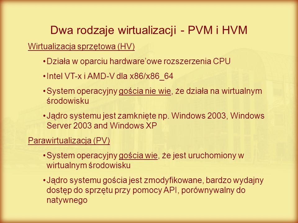 Dwa rodzaje wirtualizacji - PVM i HVM Wirtualizacja sprzętowa (HV) Działa w oparciu hardware'owe rozszerzenia CPU Intel VT-x i AMD-V dla x86/x86_64 Sy