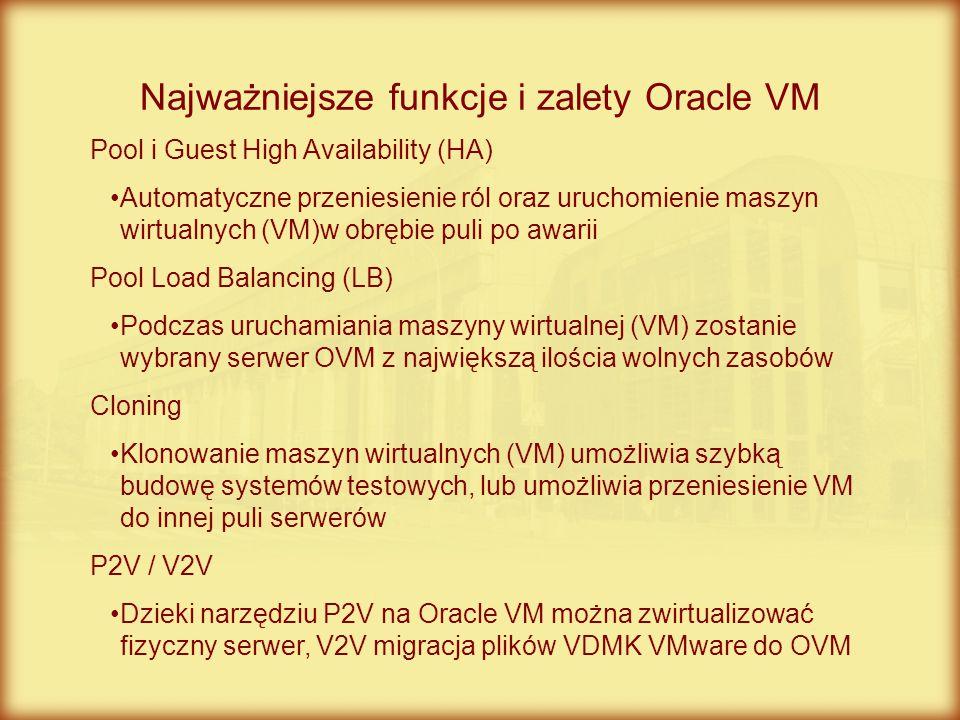 Najważniejsze funkcje i zalety Oracle VM Pool i Guest High Availability (HA) Automatyczne przeniesienie ról oraz uruchomienie maszyn wirtualnych (VM)w