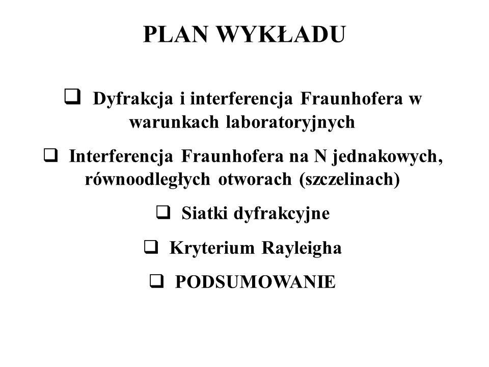 PLAN WYKŁADU  Dyfrakcja i interferencja Fraunhofera w warunkach laboratoryjnych  Interferencja Fraunhofera na N jednakowych, równoodległych otworach (szczelinach)  Siatki dyfrakcyjne  Kryterium Rayleigha  PODSUMOWANIE