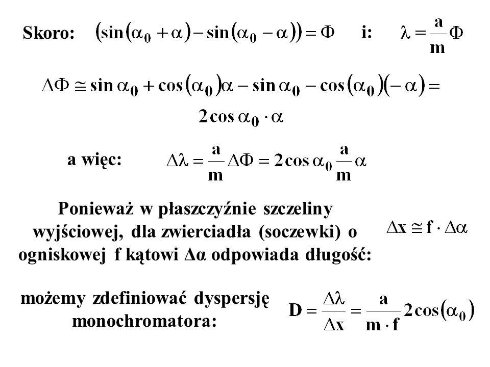 i: a więc: Ponieważ w płaszczyźnie szczeliny wyjściowej, dla zwierciadła (soczewki) o ogniskowej f kątowi Δα odpowiada długość: Skoro: możemy zdefinio