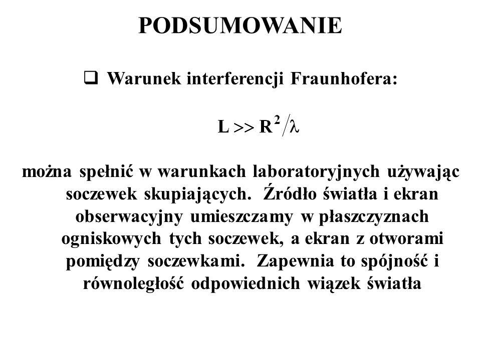 PODSUMOWANIE  Warunek interferencji Fraunhofera: można spełnić w warunkach laboratoryjnych używając soczewek skupiających. Źródło światła i ekran obs