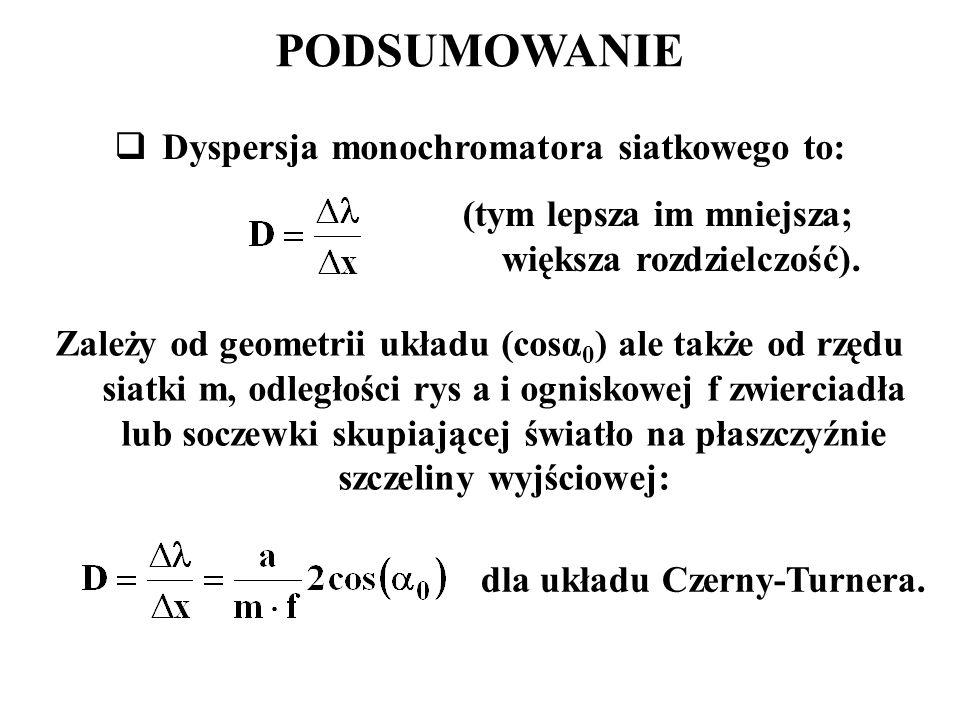 PODSUMOWANIE  Dyspersja monochromatora siatkowego to: Zależy od geometrii układu (cosα 0 ) ale także od rzędu siatki m, odległości rys a i ogniskowej f zwierciadła lub soczewki skupiającej światło na płaszczyźnie szczeliny wyjściowej: dla układu Czerny-Turnera.