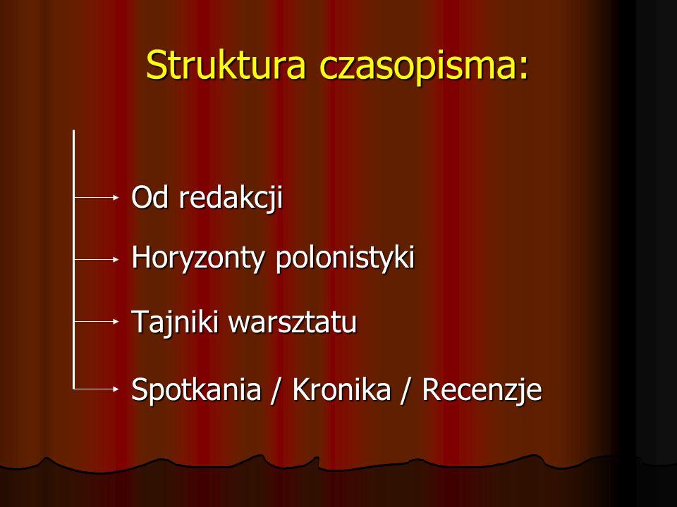 Struktura czasopisma: Od redakcji Horyzonty polonistyki Tajniki warsztatu Spotkania / Kronika / Recenzje