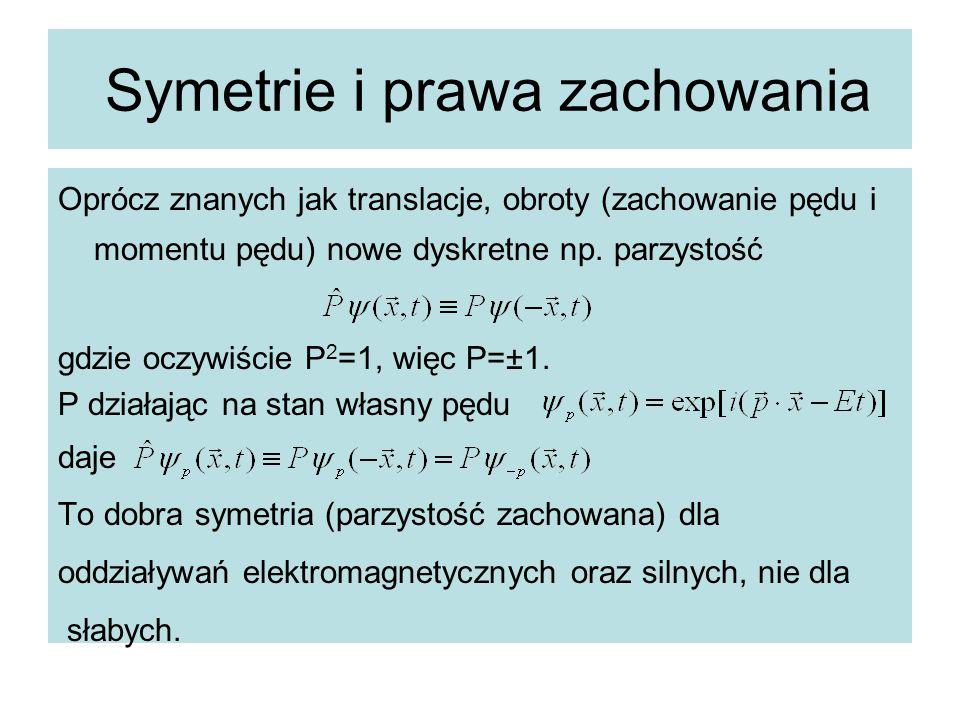 Symetrie i prawa zachowania Oprócz znanych jak translacje, obroty (zachowanie pędu i momentu pędu) nowe dyskretne np. parzystość gdzie oczywiście P 2