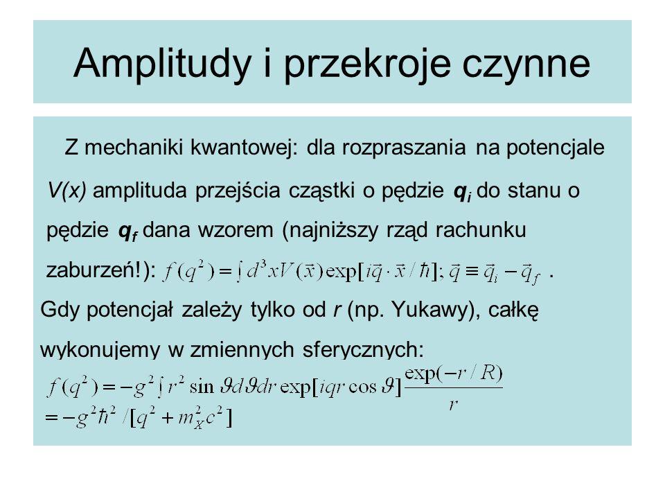 Amplitudy i przekroje czynne Z mechaniki kwantowej: dla rozpraszania na potencjale V(x) amplituda przejścia cząstki o pędzie q i do stanu o pędzie q f