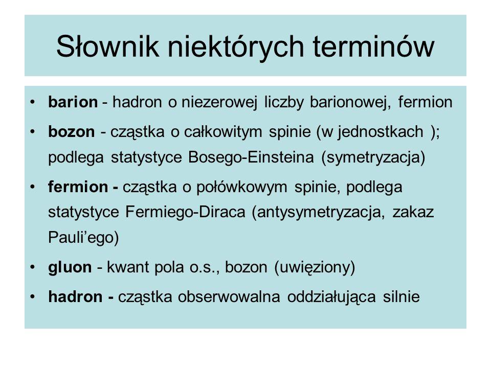 Słownik niektórych terminów barion - hadron o niezerowej liczby barionowej, fermion bozon - cząstka o całkowitym spinie (w jednostkach ); podlega stat