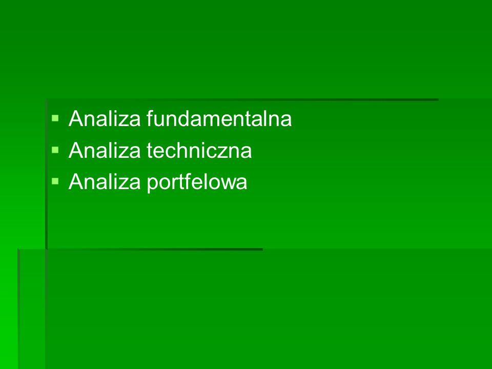   Analiza fundamentalna   Analiza techniczna   Analiza portfelowa