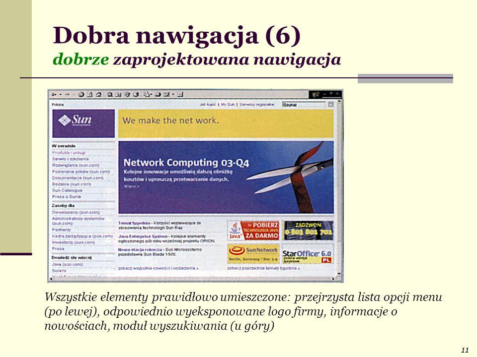 11 Dobra nawigacja (6) dobrze zaprojektowana nawigacja Wszystkie elementy prawidłowo umieszczone: przejrzysta lista opcji menu (po lewej), odpowiednio wyeksponowane logo firmy, informacje o nowościach, moduł wyszukiwania (u góry)