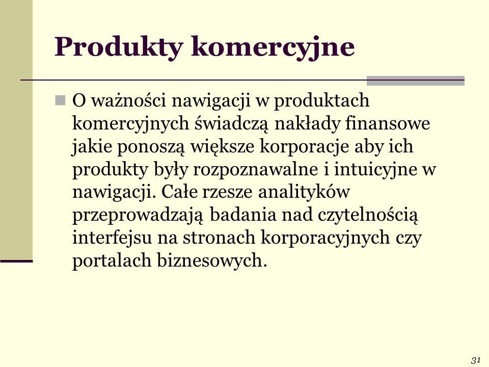 31 Produkty komercyjne O ważności nawigacji w produktach komercyjnych świadczą nakłady finansowe jakie ponoszą większe korporacje aby ich produkty były rozpoznawalne i intuicyjne w nawigacji.