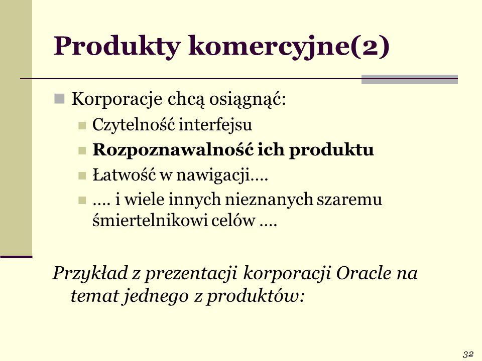 32 Produkty komercyjne(2) Korporacje chcą osiągnąć: Czytelność interfejsu Rozpoznawalność ich produktu Łatwość w nawigacji….