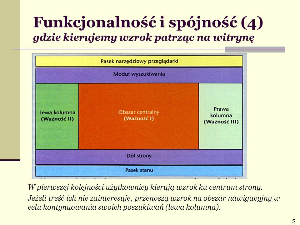 5 Funkcjonalność i spójność (4) gdzie kierujemy wzrok patrząc na witrynę W pierwszej kolejności użytkownicy kierują wzrok ku centrum strony. Jeżeli tr