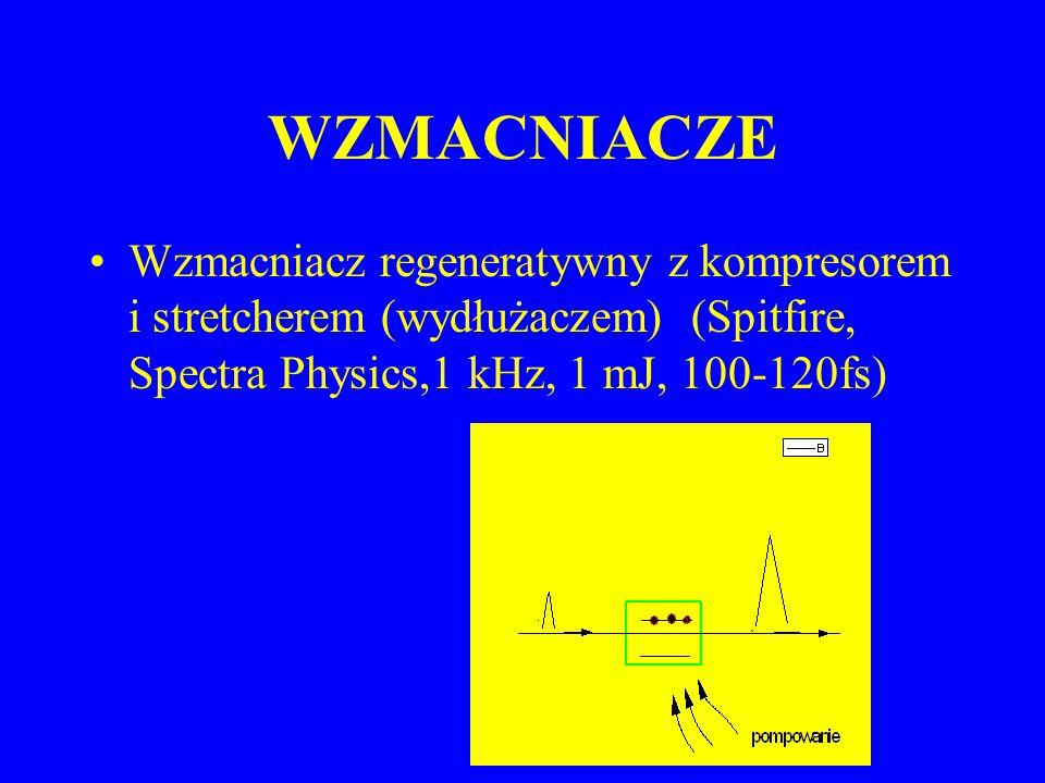WZMACNIACZE Wzmacniacz regeneratywny z kompresorem i stretcherem (wydłużaczem) (Spitfire, Spectra Physics,1 kHz, 1 mJ, 100-120fs)
