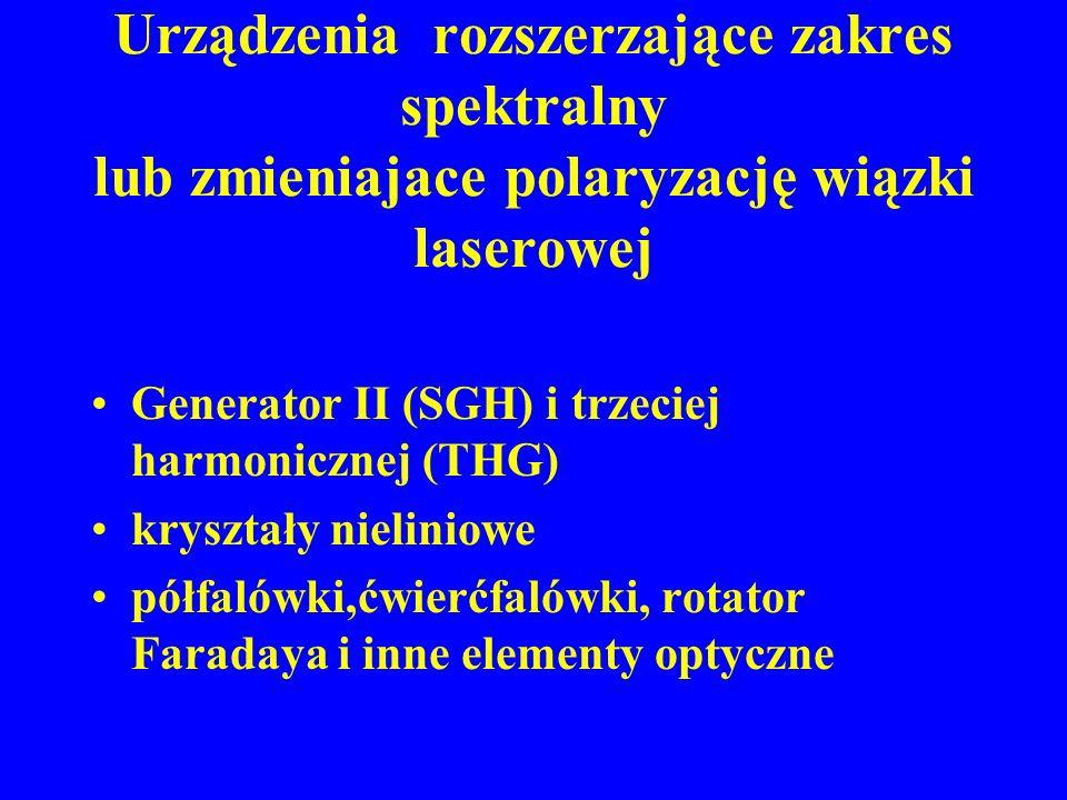 Urządzenia rozszerzające zakres spektralny lub zmieniajace polaryzację wiązki laserowej Generator II (SGH) i trzeciej harmonicznej (THG) kryształy nie